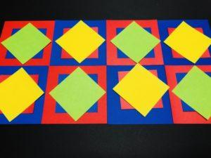 重ねる,折り紙,カラフル